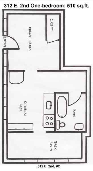 Floorplan for apartment 2 at the 312 East Second Street triplex in Moscow, Id