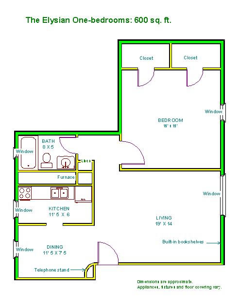 Floor plan of a one-bedroom apartment at The Elysian Fourplexes in Moscow, Id
