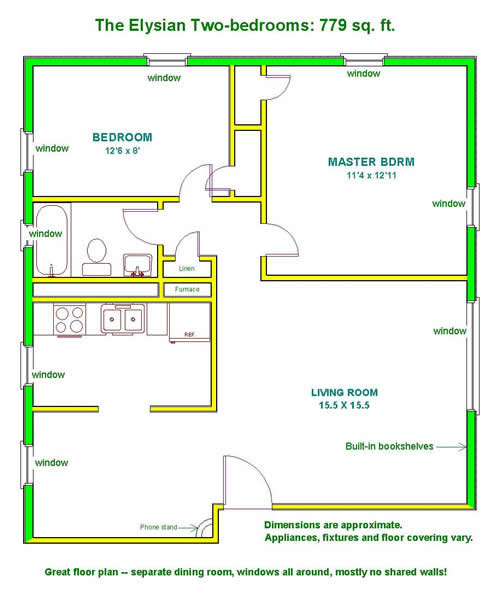 Floor plan of a two-bedroom apartment at The Elysian Fourplexes in Moscow, Id