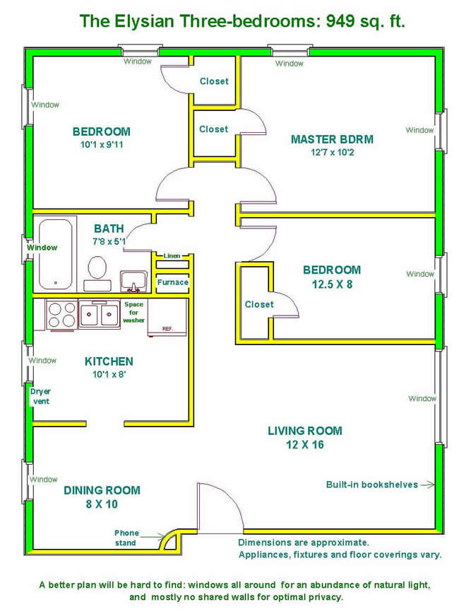 Floor plan of a three bedroom apartment at The Elysian Fourplexes in  Moscow  Id. Apartment Rentals  Elysian Fourplexes in Moscow  ID  description