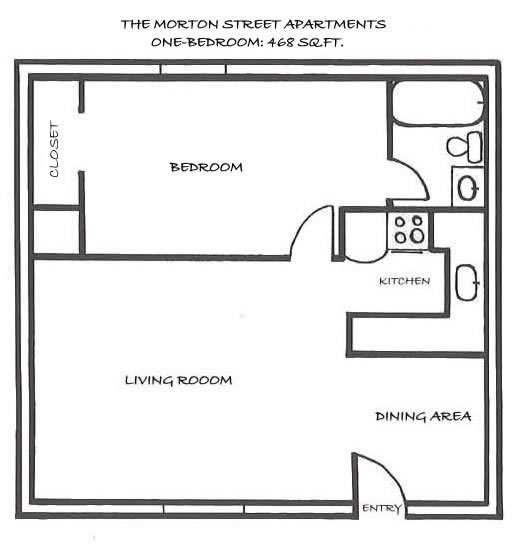 Floor Plan Of Apartment 104, The One Bedroom At The Morton Street  Apartments,