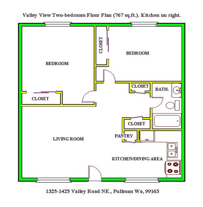 Floor plan of a two-bedroom at The Valley View Apartments, 1325 Valley Road, Pullman, Wa