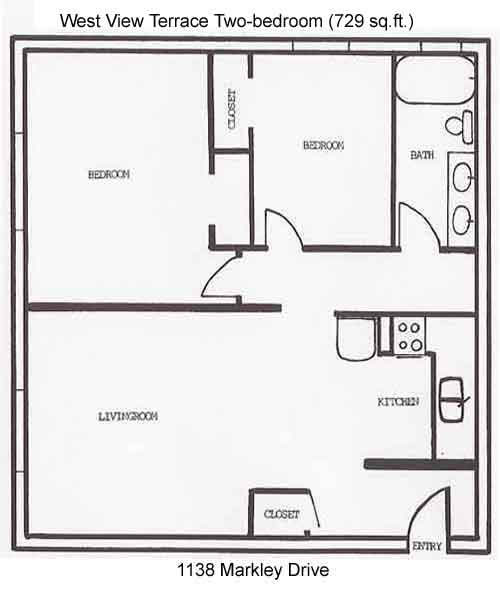 Apartment rentals west view terrace apartments 1130 1146 for Apartment floor plans with dimensions
