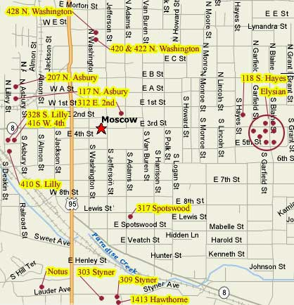 Apartment Rentals: Map of Rentals in Moscow, ID.