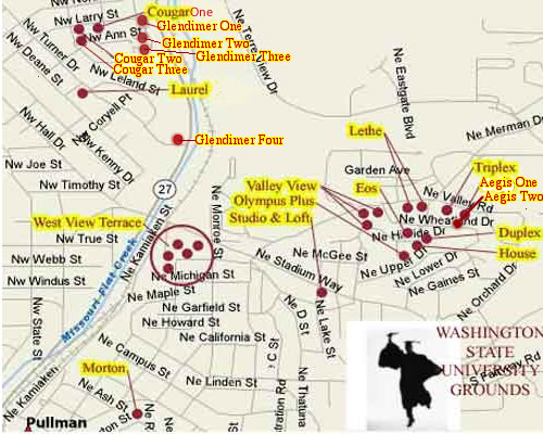 This image shows a map of Pullman, Wa with hyperlinks to all Apartment Rentals properties